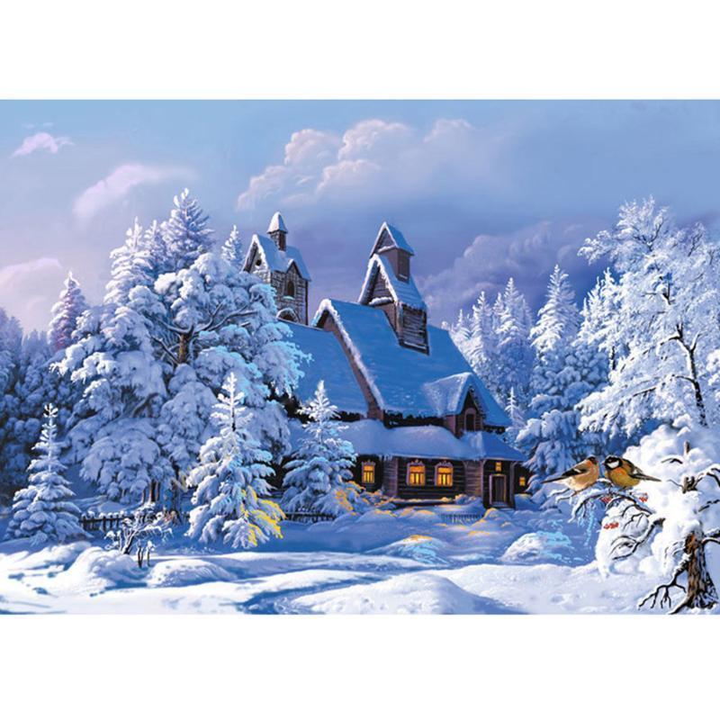 Снежный домик 5D алмазов DIY Живопись ремесла комплект домашний декор