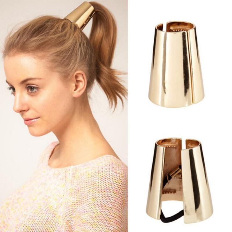 Chic Metal Elastic Ponytail Holder Hair Cuff Wrap Tie Band Ring Ropes Acrylic