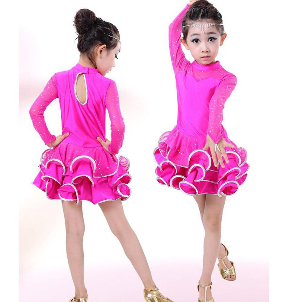 Vestido de lentejuelas chicas Latina ropa trajes Kids salón de baile ...