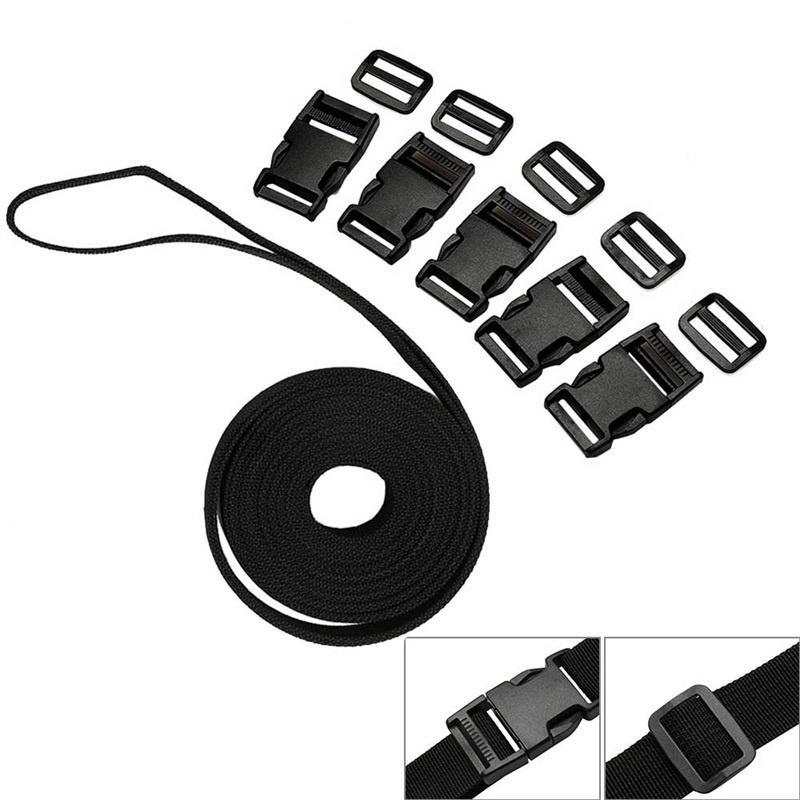 10mm Khaki 10PCS Contoured Side Release Plastic Buckles And 10 Plastic 3 Bar Slides Buckles