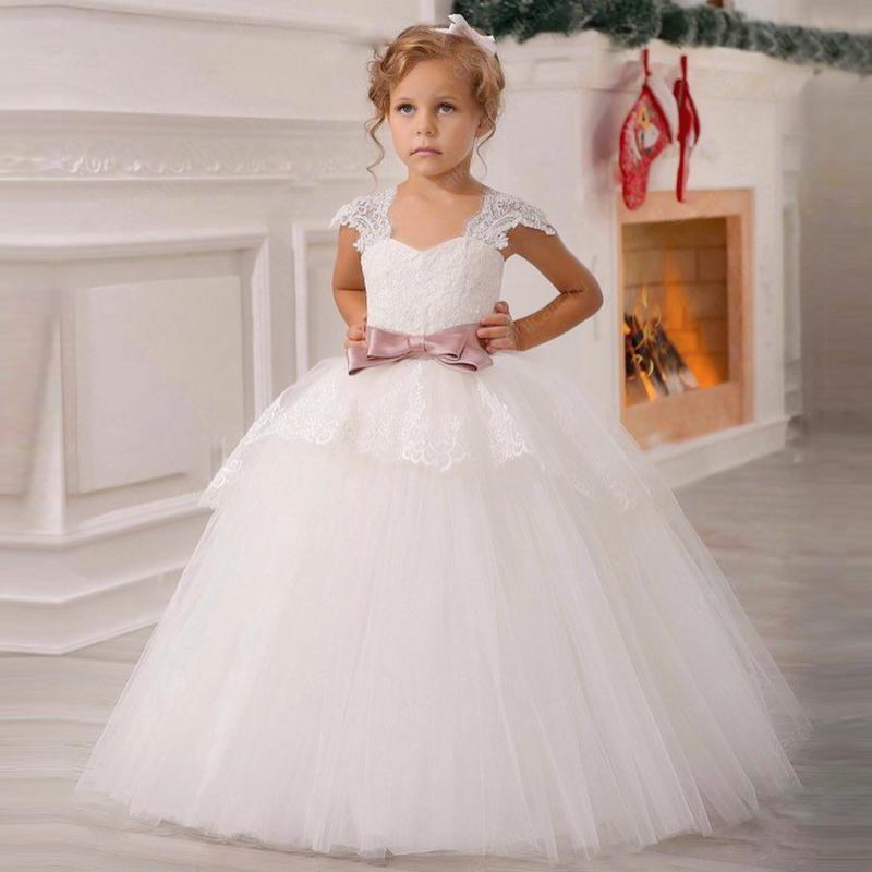 Weiße Blume Mädchen Kleider Kinder Hochzeit Party Tüll