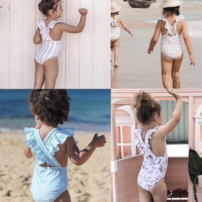 Toddler Baby Girls Summer Swimsuit Outfits Leopard Floral Ruffle One Piece Swimwear Bathing Suit Clothes Set