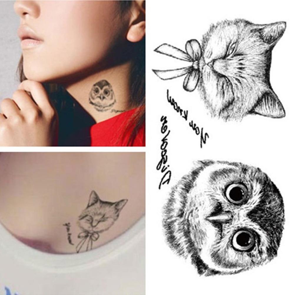 Sowa Tattoo Jednorazowe Naklejki 3d Body Body Chic Cat Tymczasowe Naklejki Tatoo Kupić W Niskich Cenach W Sklepie Internetowym Joom