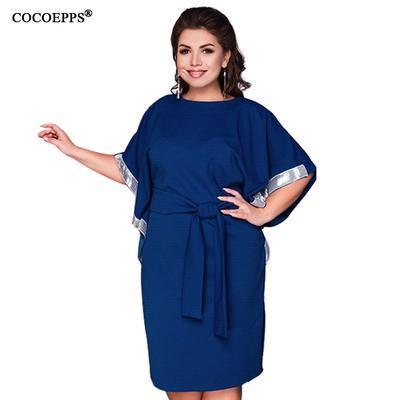 1640f43a2e5 Плюс Размер Женская одежда случайные Batwing рукав пояс платья элегантные  свободные больших размеров твердых платье