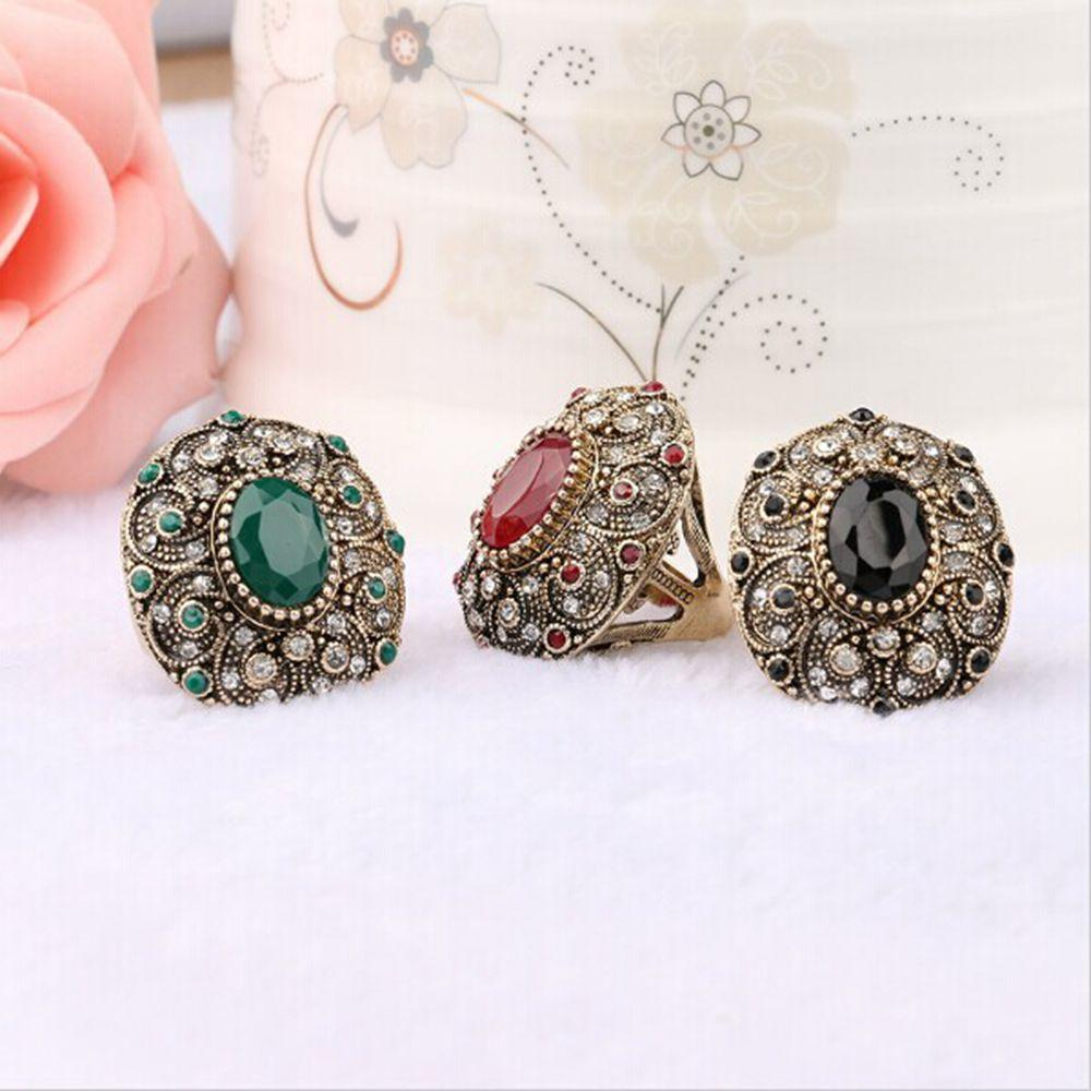 Jewelry Mosaic Resin Crystal Antique Rings Oval Shaped Ancient Gold Plated