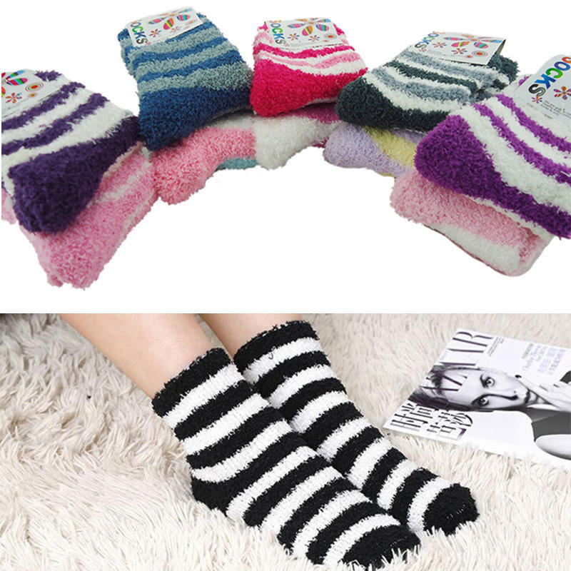 Women Girls Winter Bed Socks Solid Fluffy Warm Soft Thick Home Candy Color HGj$