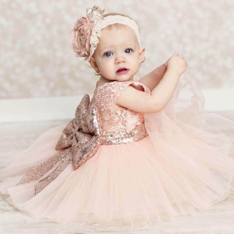 亮片蝴蝶结连衣裙儿童蕾丝礼服演出服童装