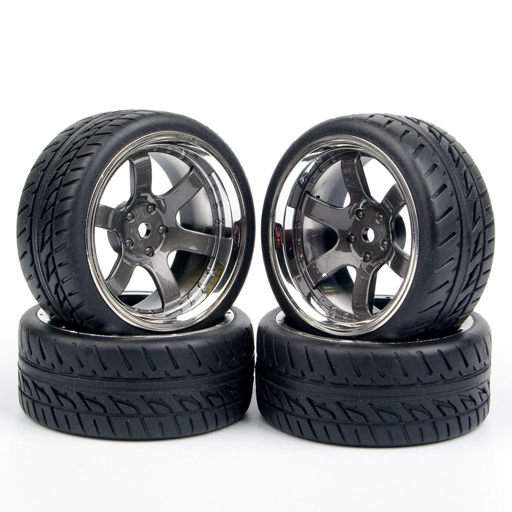 4Pcs 1:10 Rally Rubber Tires/&Wheel Rims 12mm Hex For RC HSP HPI Racing Car Toy