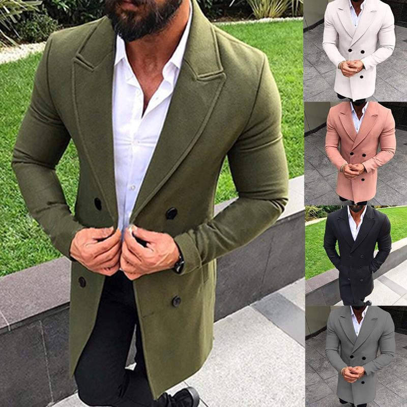 Mens Winter Trench Coat Double Breasted Warm Outwear Long Jacket Formal Overcoat