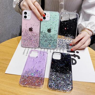 Bling Glitter Soft Clear Silicone TPU Phone Case For iPhone 6 6s 7 8 Plus 10 11 12 Mini Pro X XS XR Max SE Transperand Back Cover Capa