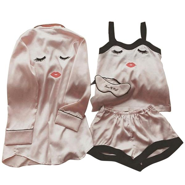 822e13bb98 4 Pieces Women Summer Pajamas Top Shorts Robe Eye Mask Sleepwear Clothing  Set Size M-buy at a low prices on Joom e-commerce platform