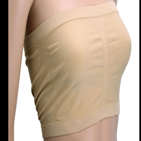 Womens Ice Silk spaghetti Bra Bandeau Tube Tops Removable Pads Seamless Crop  Cu