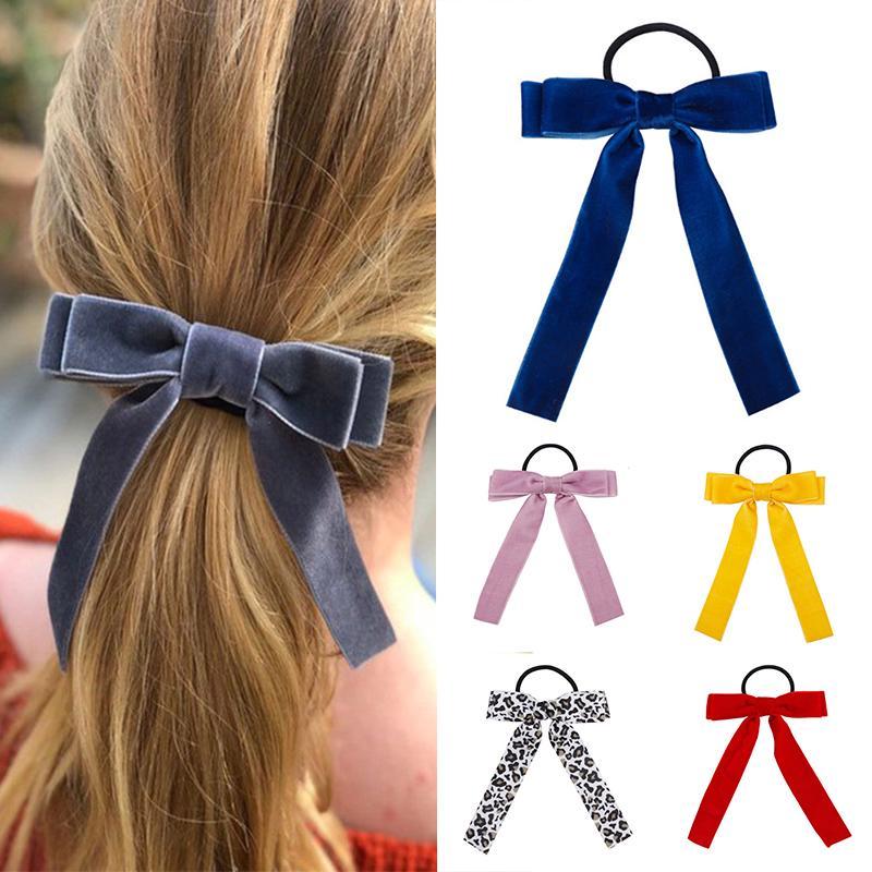 Hair Band Girls Hair Tie Rope Elastic Women Ribbon Bow Scrunchie Ponytail Velvet