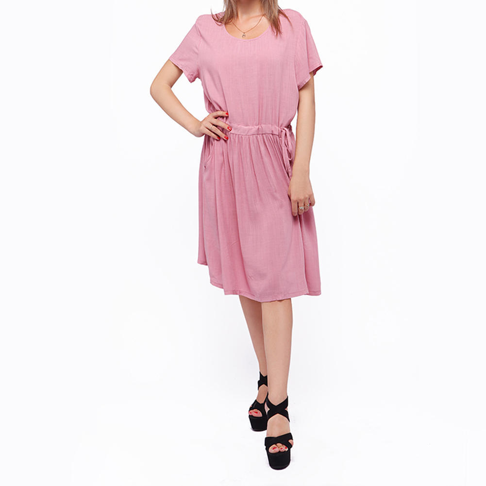 Moda mujer damas vestido Casual Vestido de lino manga corta vestido ...