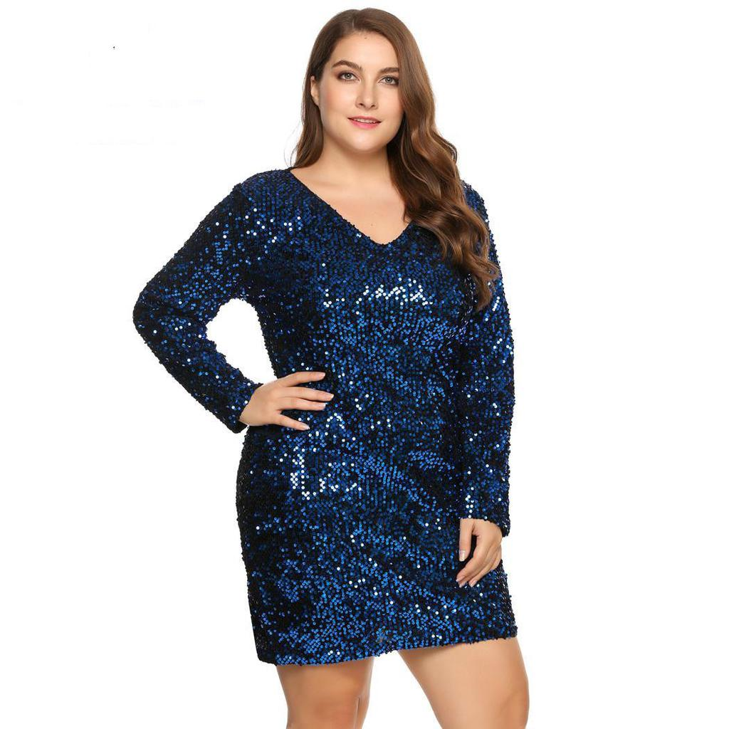 df67095cac0a3 Floylyn Women's Dress Plus Size Sexy Long Sleeve Sequined Bodycon Cocktail  Club Loose Dresses