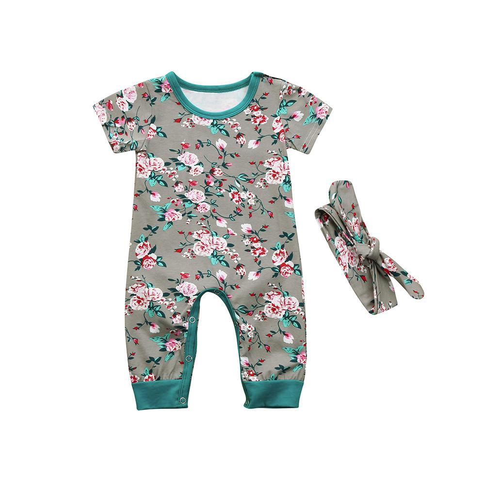 4f57da1e6 Toddler Baby Boys Girls Floral Jumpsuit Romper Headband Outfits ...
