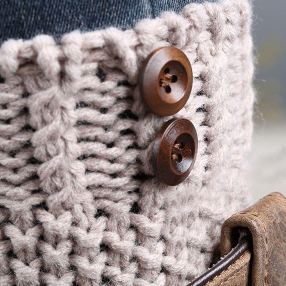Par de conjuntos de piernas mujer mujeres cortas botón tejer otoño invierno puños de arranque de punto sólido