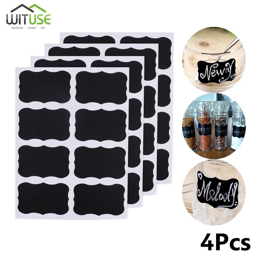 40pcs Home Kitchen Wedding Jars Blackboard Stickers Chalkboard Lables Tags Black