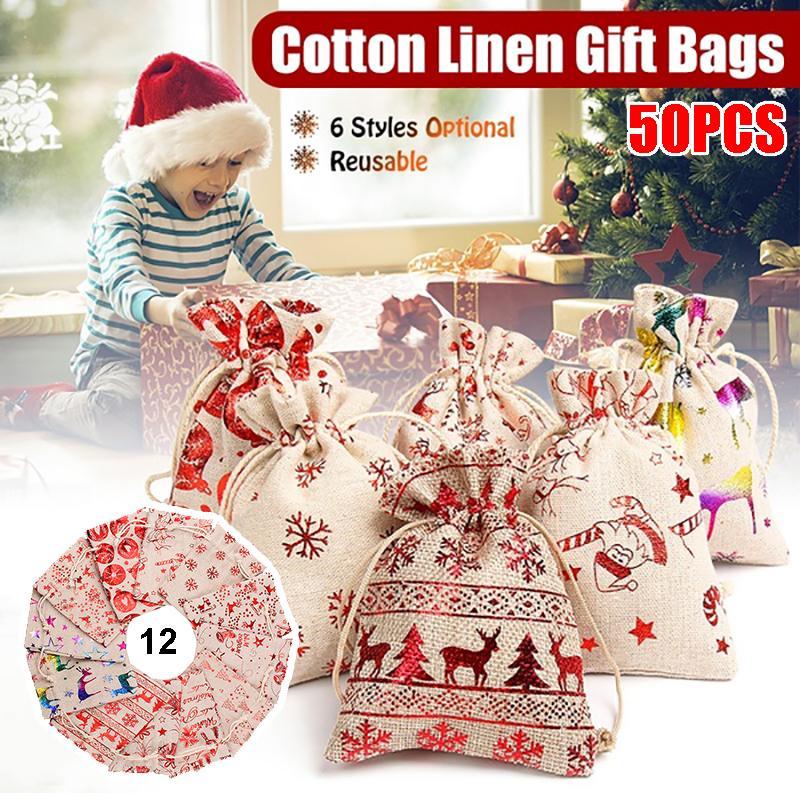CHRISTMAS Linen Gift Bag Gift Bag