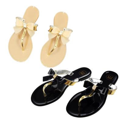 4376ddf61 Womens Ladies Toe Bow Diamante Jelly Summer Flat Flip Flop Thong Sandals
