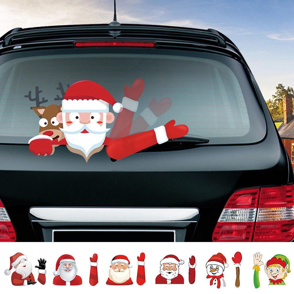 Christmas Santa Claus Window Stickers Car Rear Wiper Decals Xmas Decor CA