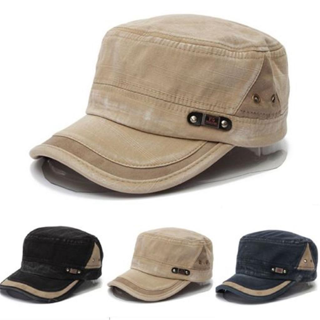 Mens Women Summer Army Plain Hat Military Cadet Adjustable Baseball Flat Cap
