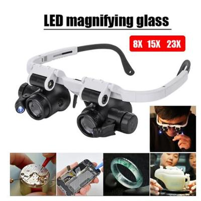Headband Glasses Magnifier With Led Light 8X 15X 23X Watchmaker'S Magnifier
