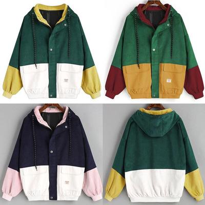 Women Coats Womens Long Sleeve Corduroy Patchwork Overcoat Lady Hooded Oversize Zipper Jacket Coat