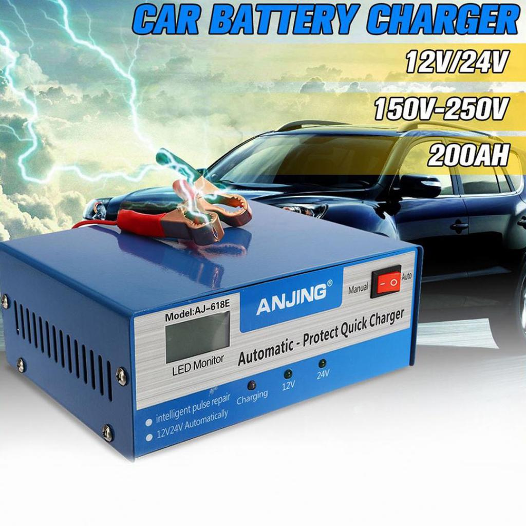 English LCD Display Full Automatic Car Battery Charger 150V//250V To 12V 24V Smart Fast Power Charging For Wet Dry Lead Acid