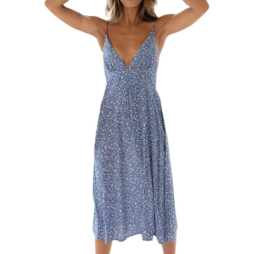 UK Women Floral Ruffled Dress Summer Holiday Party Beach Slim Spilt Sundress