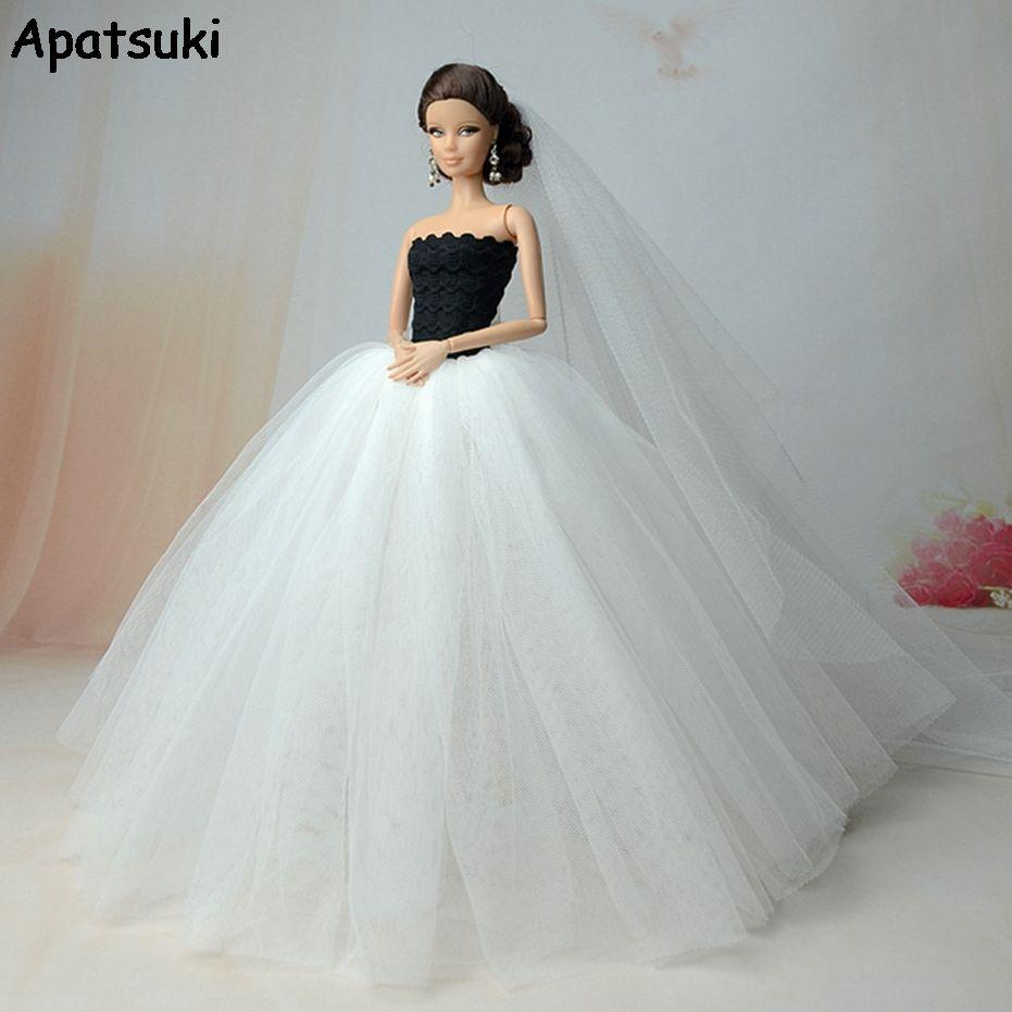 White High Quality Party Dresses For Barbie Doll Long Tail Evening Gown  Clothes Wedding Dress +Veil 2020 Doll Accessories