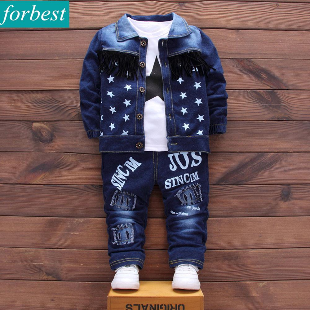 3pcs Child Kids Little Boys Clothing Sets Coat+Shirt+Jeans Leisure Suit Cotton