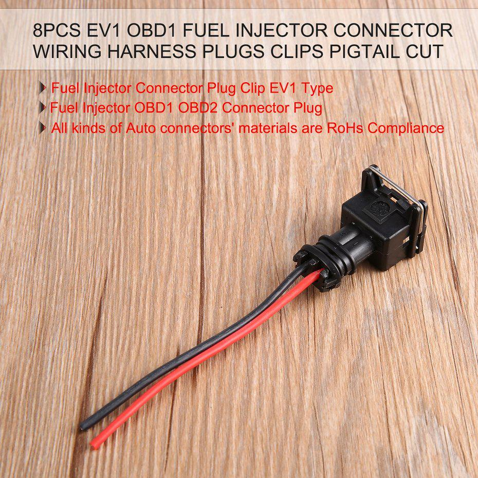 8pcs EV1 OBD1 Fuel Injector Connector Wiring Harness Plugs Clips Pigtail Wiring Clip on harley handlebar wire clips, wire rope clips, types wire clips, plastic clips, latching wire clips, framing clips, insulation clips, conduit clips, automotive clips, spring clip,