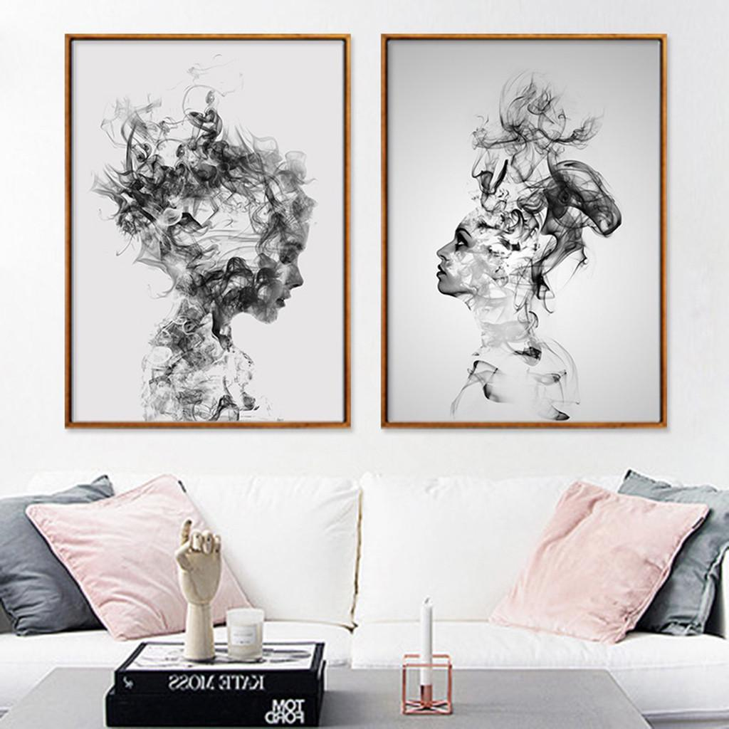 Abstract African Woman Man Canvas Poster Wall Art Picture Prints Decor Unframed