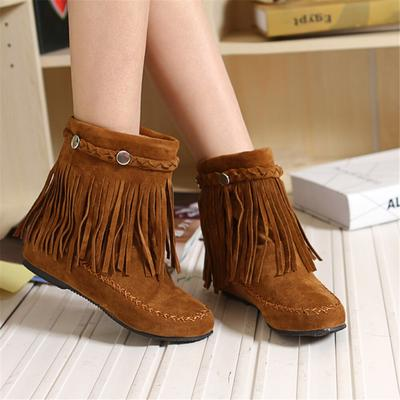 Women British Style Short Tube Frosted Tassel Boots National Wind Ankle Boots
