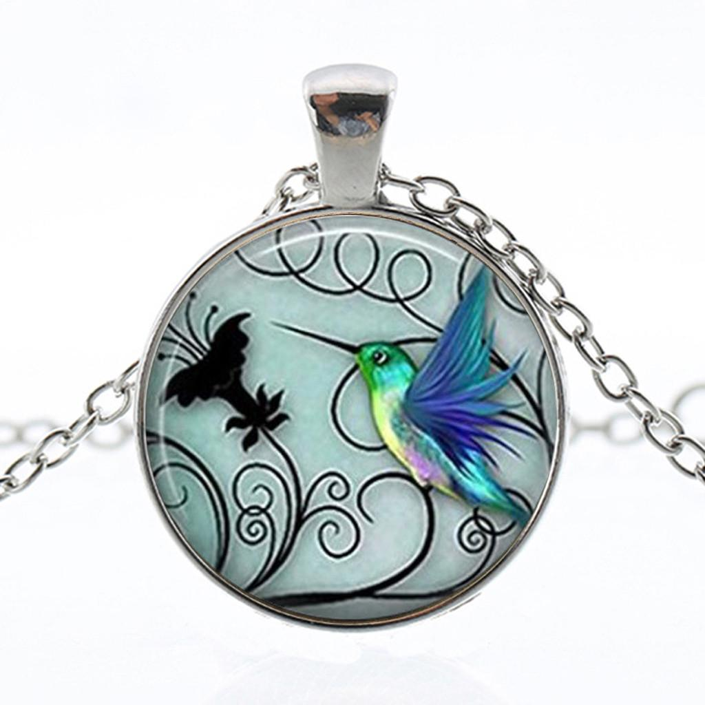 Hummingbird Charm Silver Choker Necklace