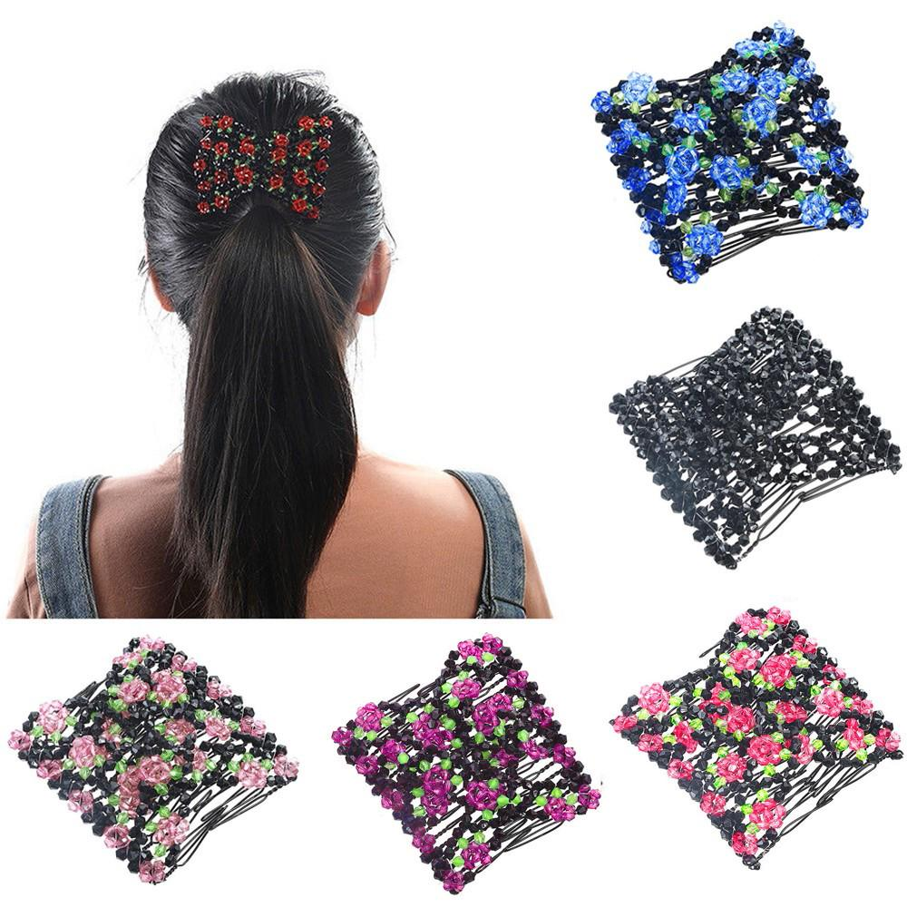 Retro Magic Double Hair Combs Clips Stretchy Pearls Beads for Thick Hair