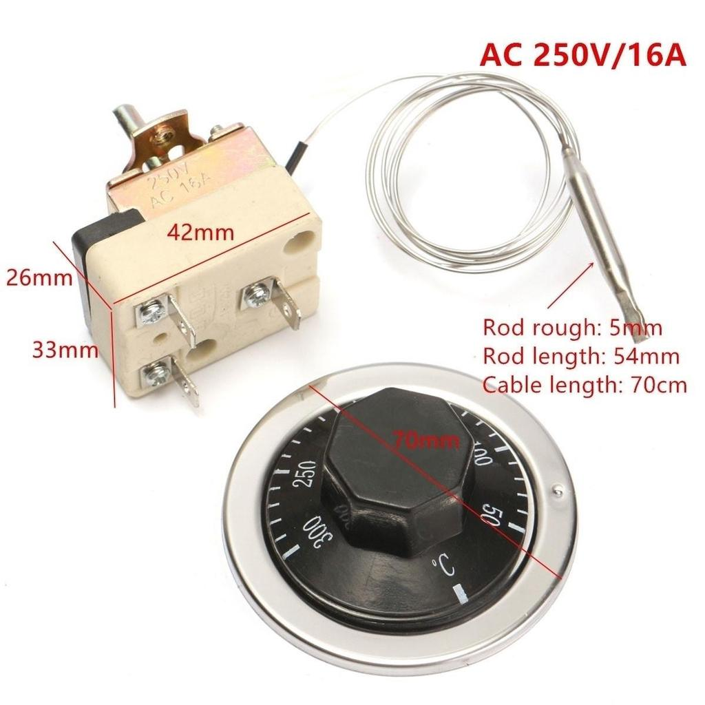 AC 250V 16A 50-300℃ Dial Thermostat Temperature Control Switch for Electric Oven