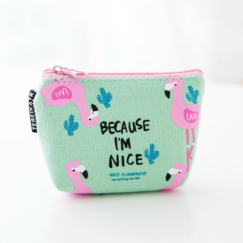 Coin Pouch Flamingo Pattern Green Leaves Canvas Coin Purse Cellphone Card Bag With Handle And Zipper
