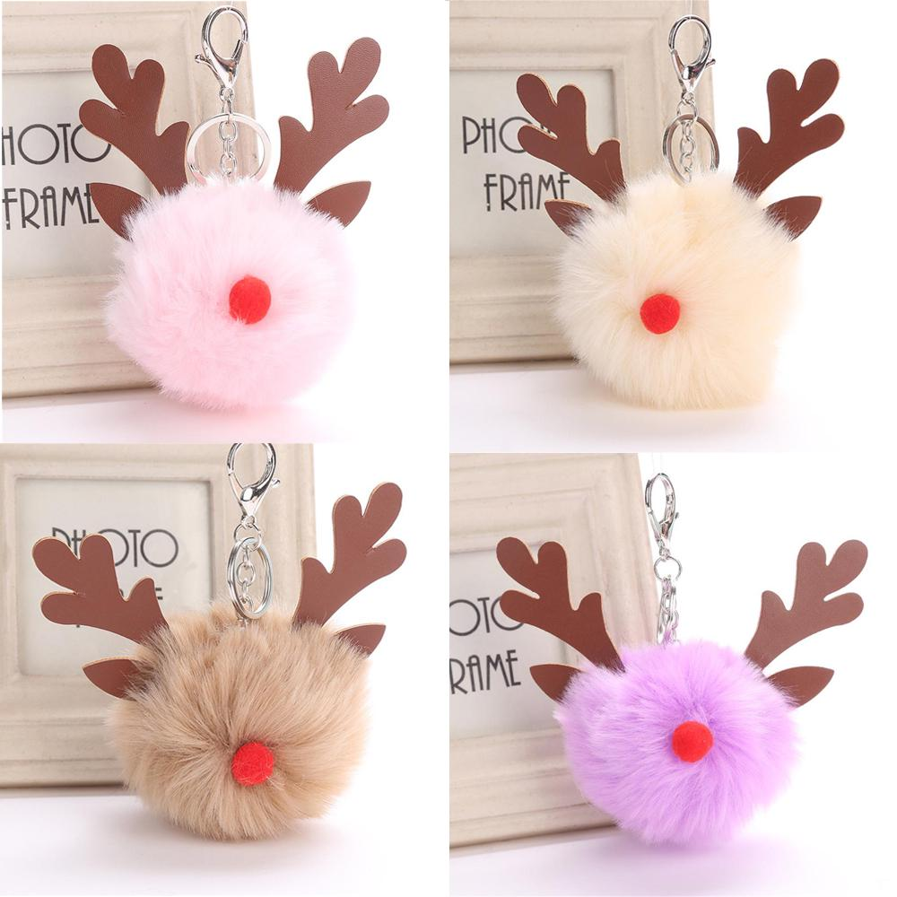 Plush Christmas Deer Key Ring Xmas Keychain Faux Rabbit Fur Pompom Key Buckle