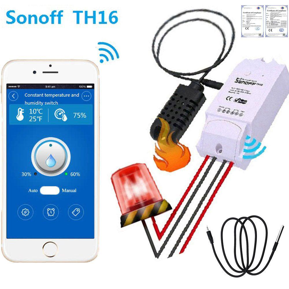 Sonoff TH16 WIFI Smart Switch Temperature Humidity Monitoring 16A for eWelink