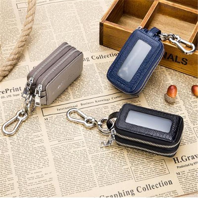 Fashion PU Leather Zipper Smart Key Holder Cover Case Chain For Universal Car
