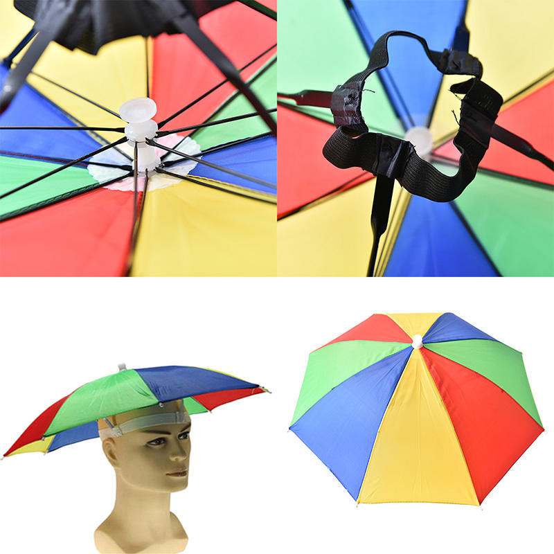 Cappello ombrello fascia regolabile multicolore sport all aperto pieghevole  cappello a ombrello pioggia dc646b8746d4