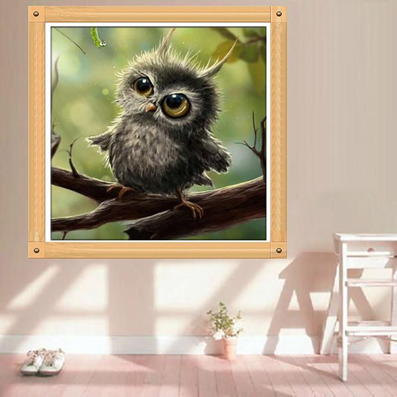 2 Stücke 5D Diamant Malerei Stickerei Kreuzstich Kit Tier Papagei Owl Decor