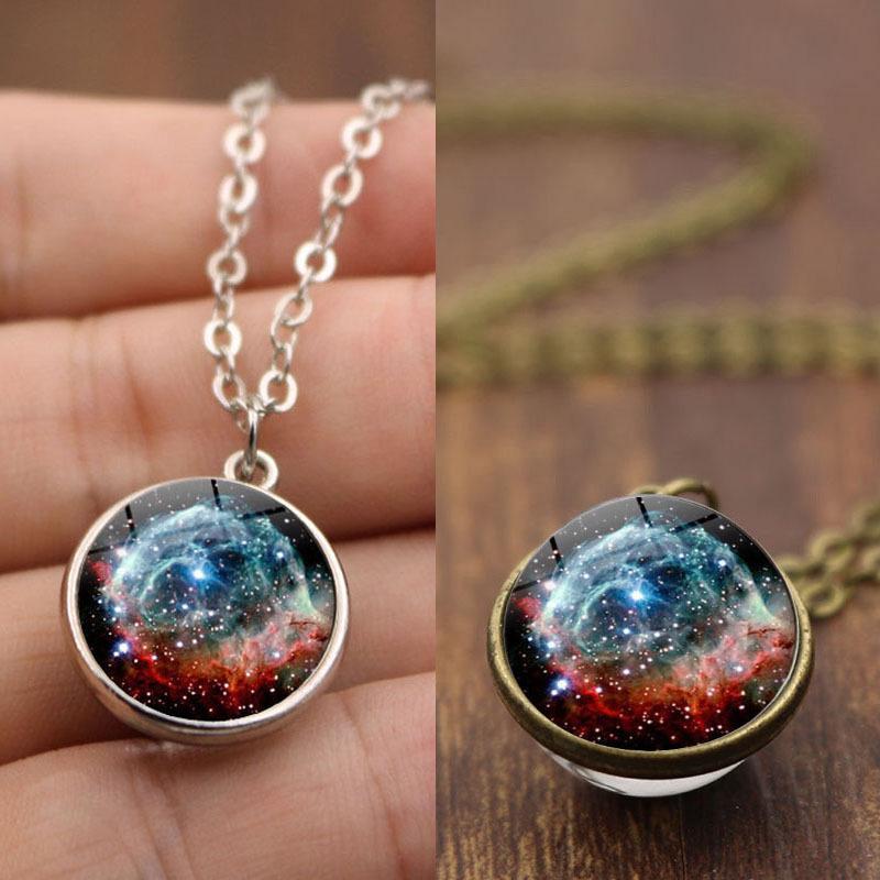 Vintage Galaxy Nebula Pyramid Luminous Glow in the dark Glass Pendant Necklace