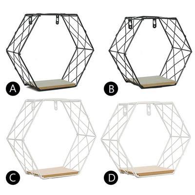 Ins Wrought Iron Hexagonal Grid Wall Shelf Black Grid Style