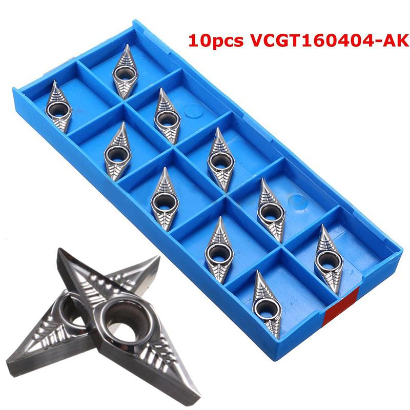 10pcs VCGT160404-AK Blades Carbide Inserts for Lathe Tool Turning Holder Bar