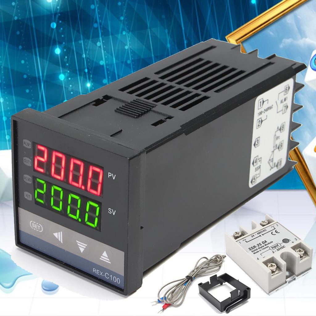 Digital Rex C100 Temperature Controller 0 To 400 K Sensor 25a Complete Package Pid Thermocouple Probe Ssr 1 Of 10