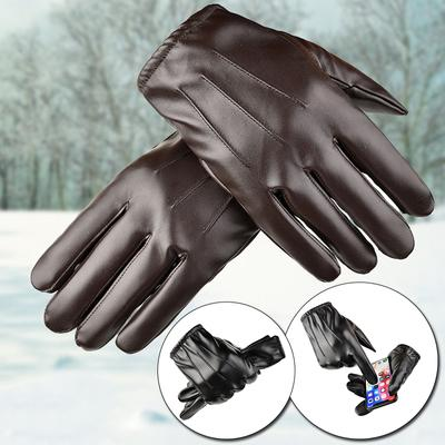 1Pair High Quality Driving Mittens Touch Screen Full Finger Plus Cashmere Leather Gloves Outdoor Supplies