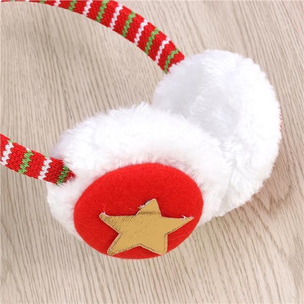 Merry Christmas Snowflake Snowman Winter Earmuffs Ear Warmers Faux Fur Foldable Plush Outdoor Gift